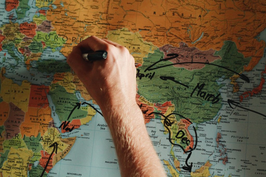 Map, world travel planning