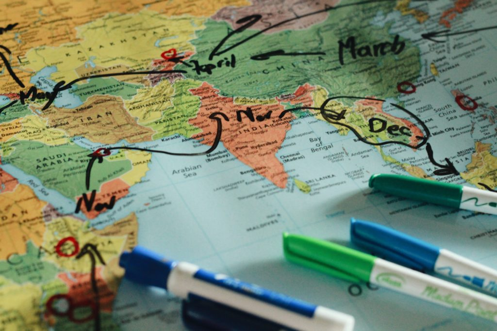 Map Around the world planning