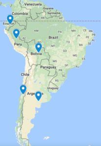 World Trip, Map, Location Pins, South America
