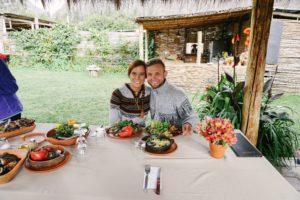 pachamanca lunch, Ollantaytambo, Urubamba Valley, Peru, Couple